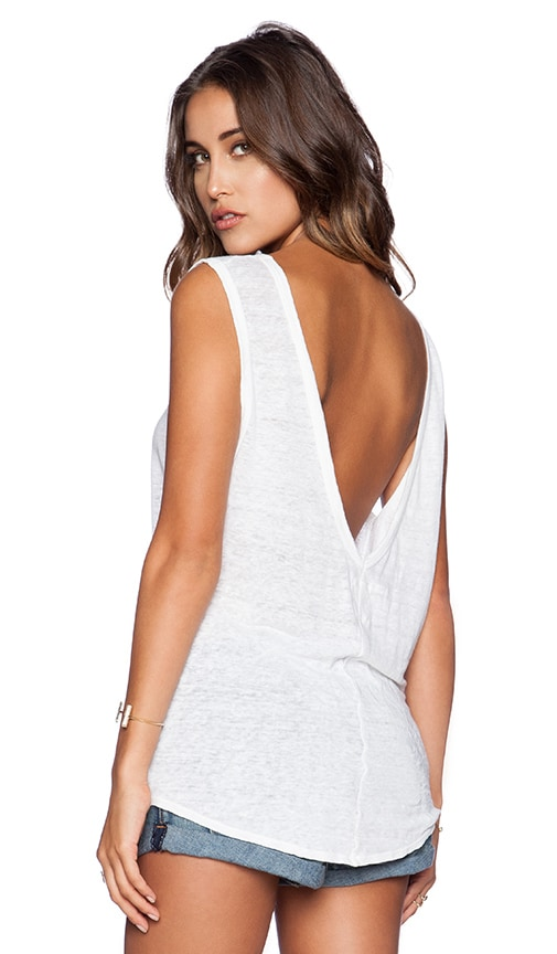 EVER Lola Low Back Tank in White