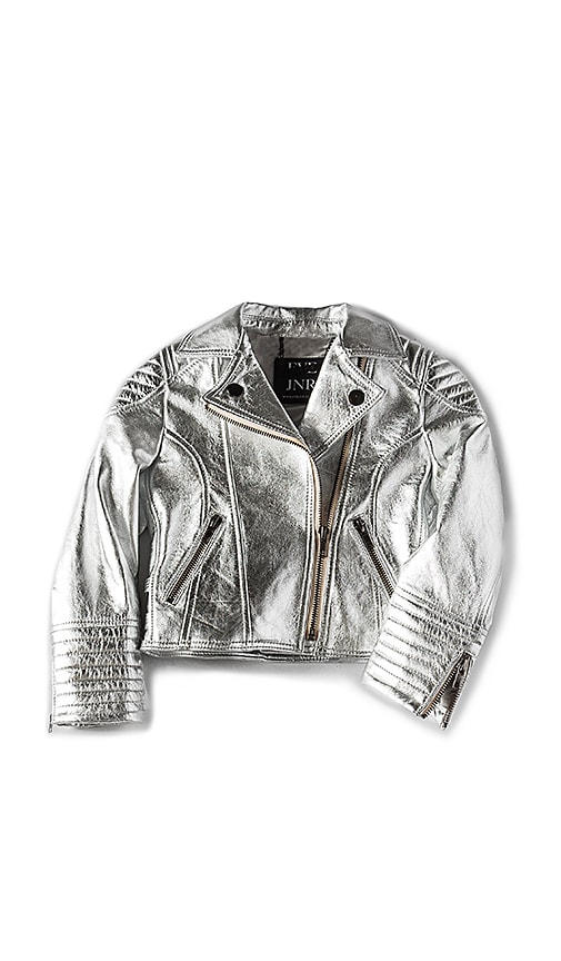 eve jnr Leather Jacket in Metallic Silver