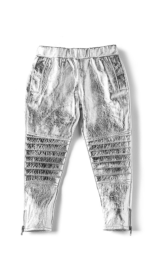 eve jnr Leather Harem Pant in Metallic Silver