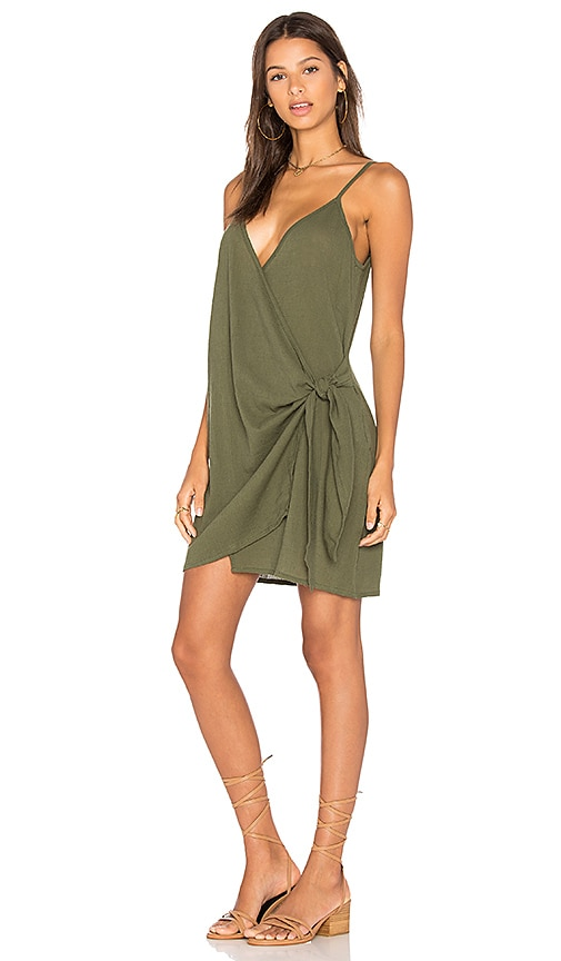 FAITHFULL THE BRAND Kara Wrap Dress In Plain Khaki