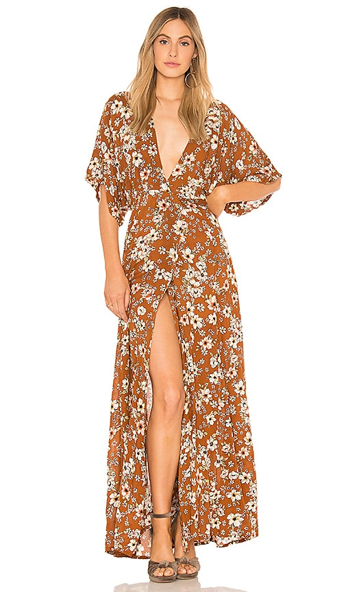 9043cd30a6 FAITHFULL THE BRAND Bergamo Maxi Dress in Cecile Rose Floral Print ...
