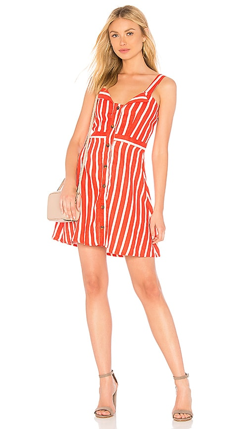 b5d269a4a8 FAITHFULL THE BRAND Le Petite Dress in Tangerine Mazur Stripe