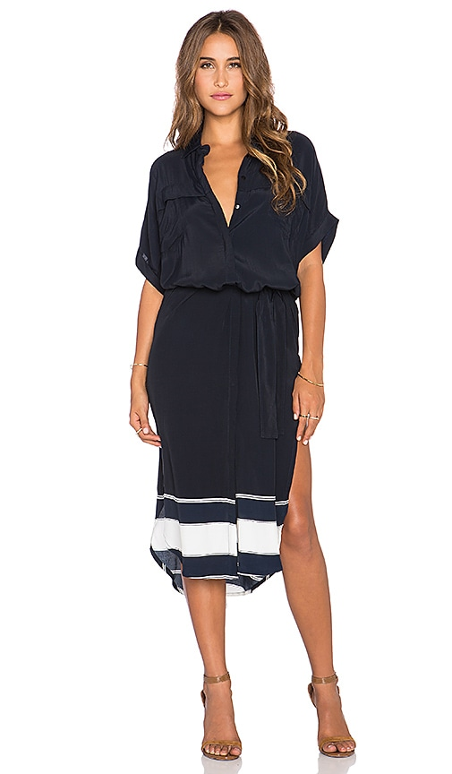 FAITHFULL THE BRAND Gigi Americana Stripe Border Shirt Dress in Navy & White