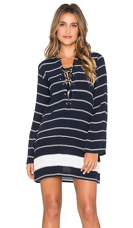 FAITHFULL THE BRAND Roman Americana Stripe Dress in Navy & White
