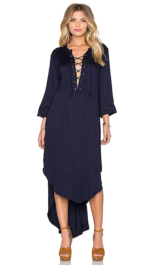 FAITHFULL THE BRAND Hey Now Satin Maxi Dress in Plain Midnight Navy