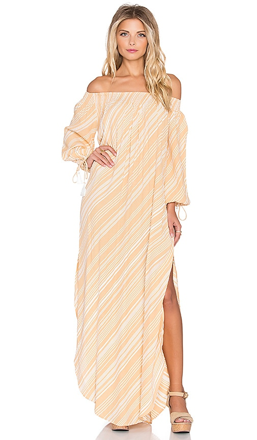 FAITHFULL THE BRAND Cecil Ziggy Print Maxi Dress in Peach & White