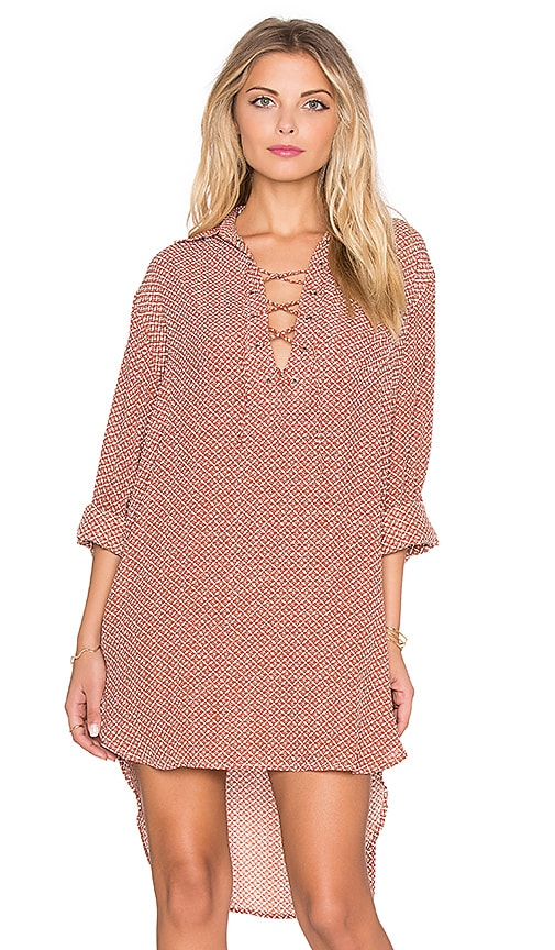 FAITHFULL THE BRAND Walker Alegre Print Shirt Dress in Rust & White