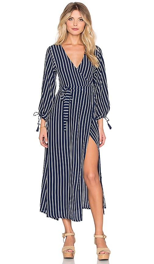 FAITHFULL THE BRAND Atlas Story Stripe Wrap Maxi Dress in Navy & White