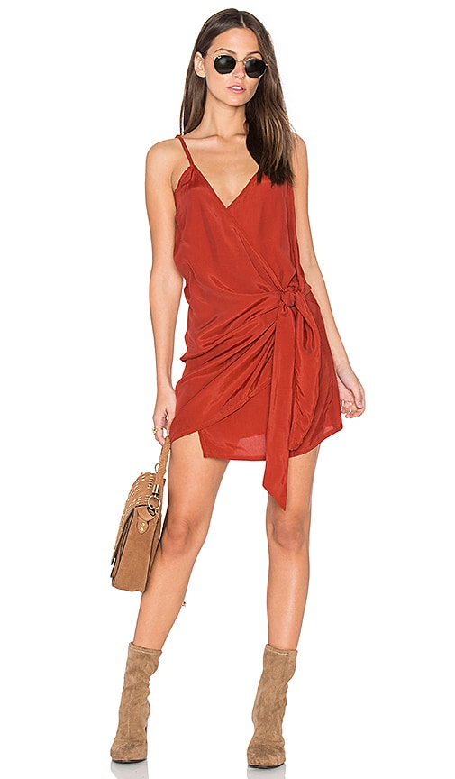 FAITHFULL THE BRAND Kara Wrap Dress in Rust
