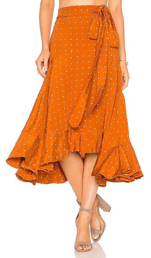 FAITHFULL THE BRAND Kamares Skirt in Rust