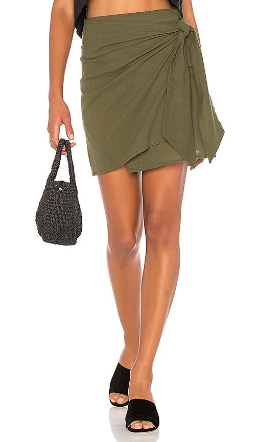 FAITHFULL THE BRAND Acadia Skirt In Plain Khaki