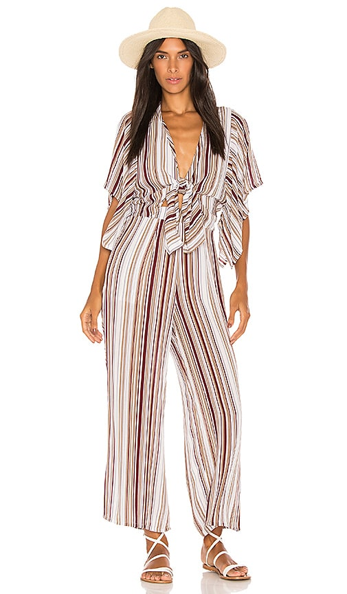d13ee0249e8 Faithfull The Brand Tilos Stripe Knotted Jumpsuit In Red