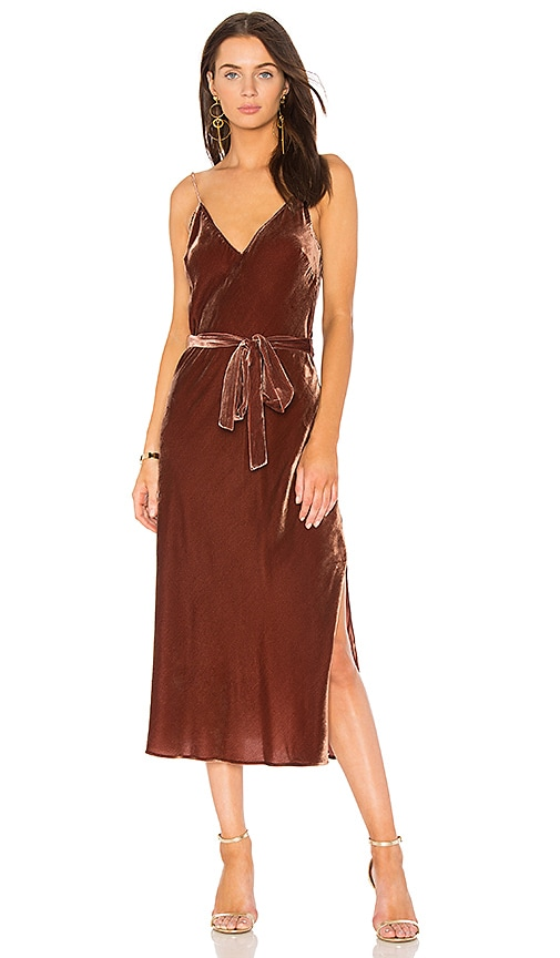 FRAME V Neck Slip Dress in Rust