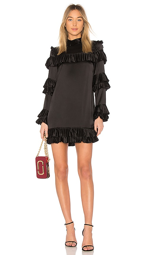 FRAME Ruffle Dress in Black
