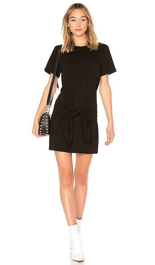 FRAME Knot Tee Dress in Black
