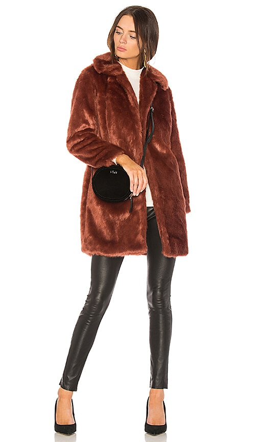 FRAME Faux Fur Coat in Rust