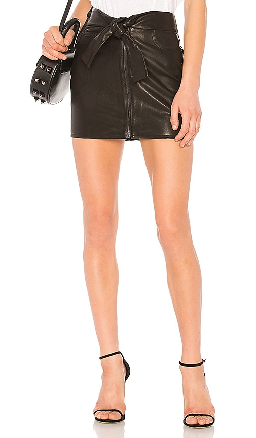 FRAME Waist Tie Mini Skirt in Black