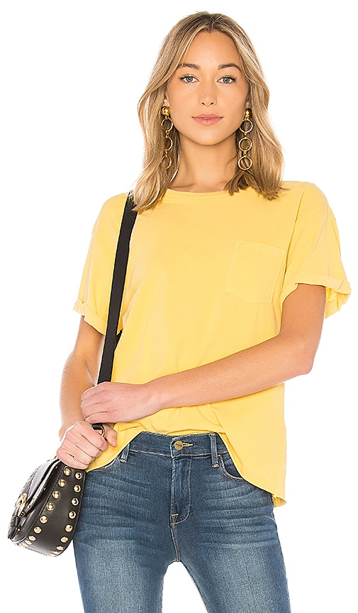FRAME Slouchy Crew Tee in Yellow