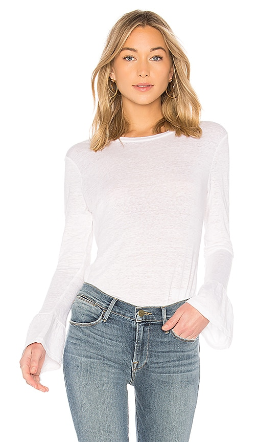 FRAME Ruffle Cuff Top in White