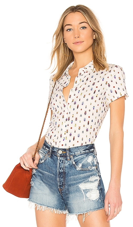 FRAME Shrunken Short Sleeve Top in White