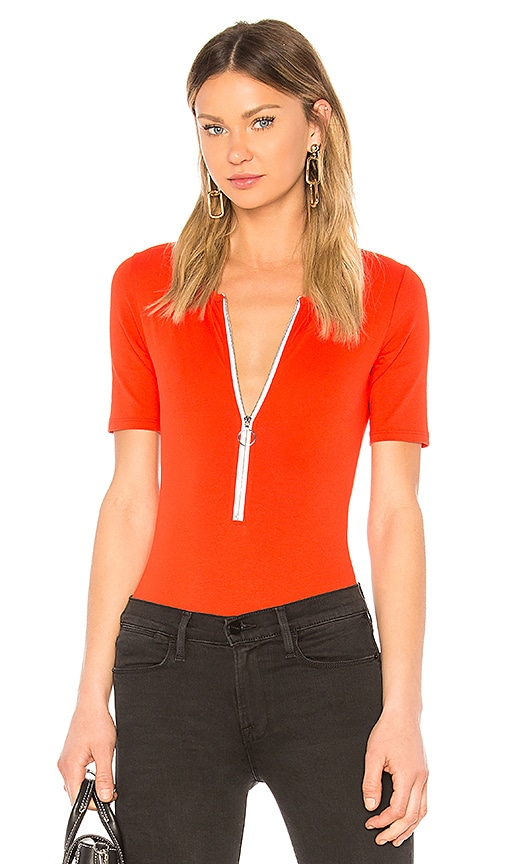 FRAME Zip Up Bodysuit in Summer Red | REVOLVE