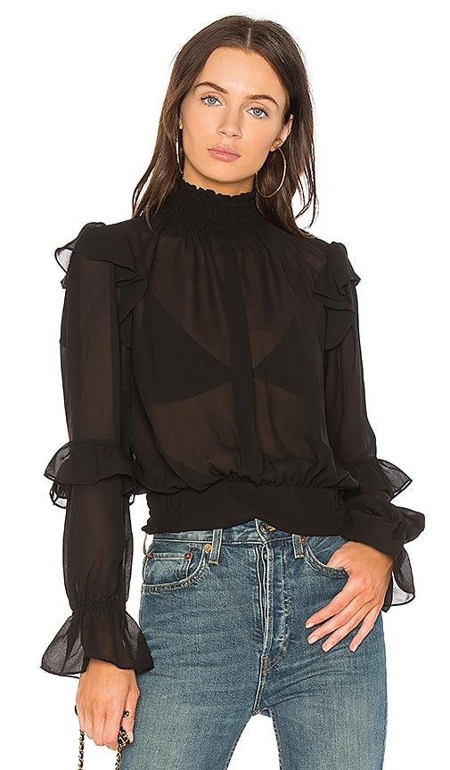FRAME Ruffle Blouse in Black