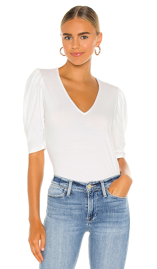 Frame SHIRRED V SHORT SLEEVE KNIT TOP