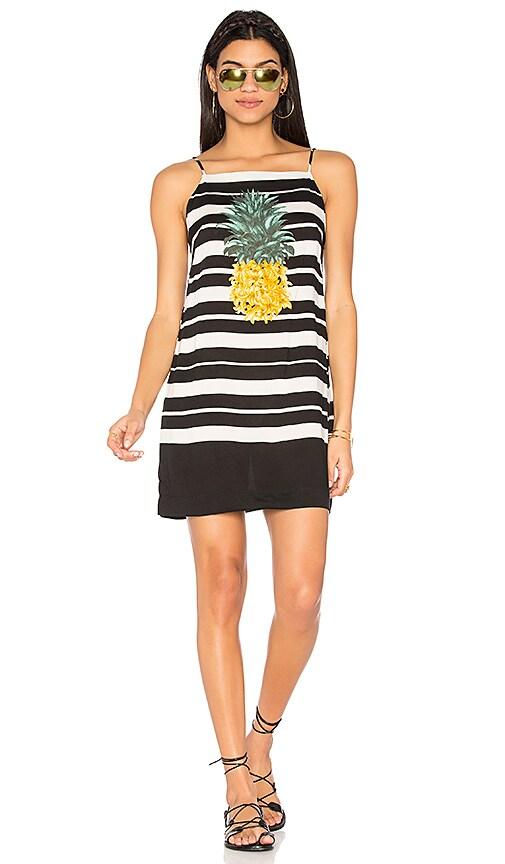 FARM Striped Pineapple Dress in Black & White