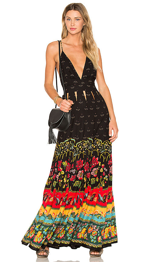 FARM Boho Maxi Dress in Black