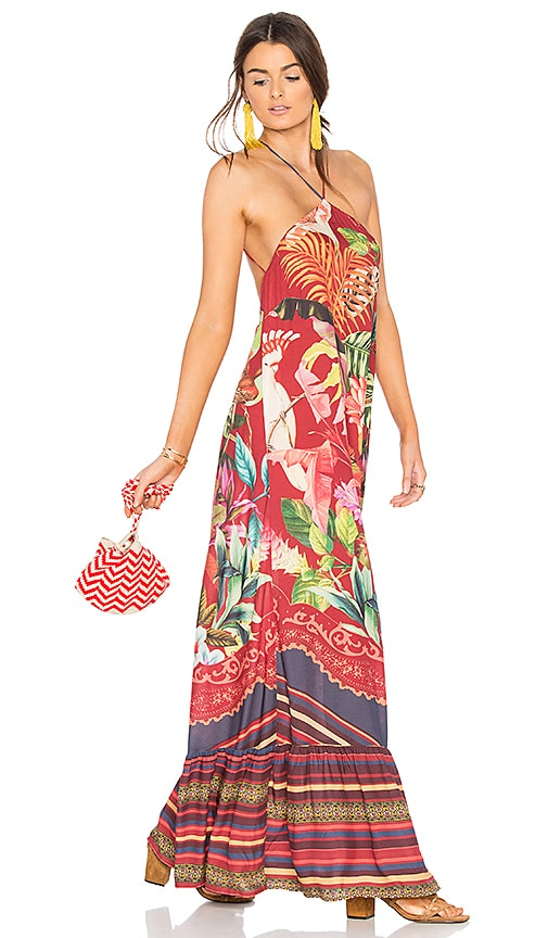 FARM Birds of Paradise Long Dress in Red
