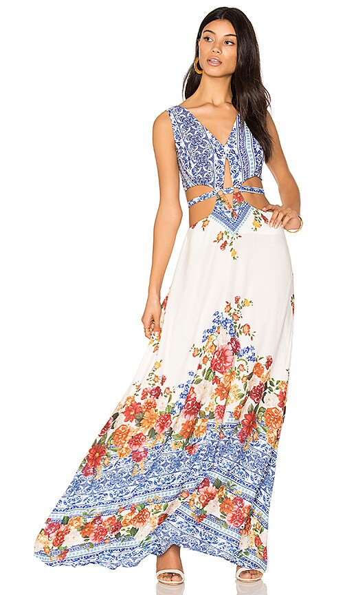 FARM Cut Out Maxi Dress in Blue