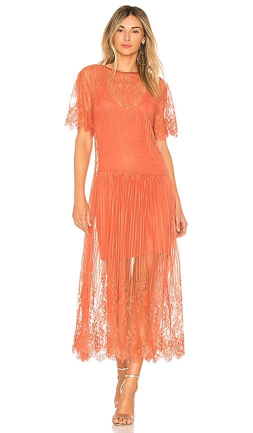 FARM Lace Midi Dress in Rose