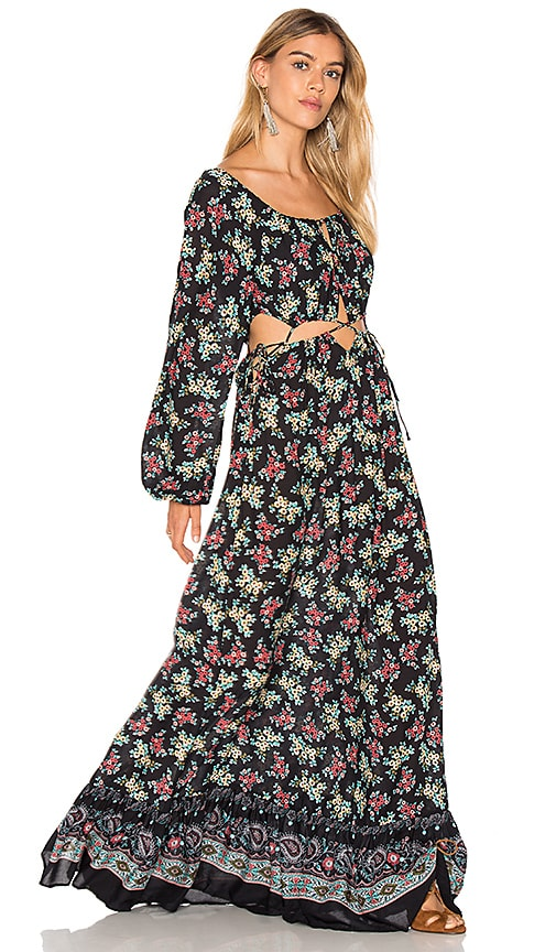 FARM Florina Long Dress in Black