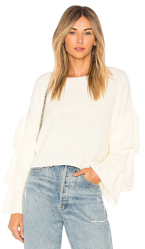 FARM Ruffle Sleeve Top in Ivory