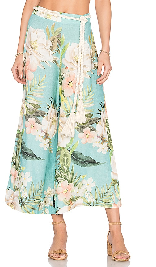 FARM Bossa Nova Cropped Pant in Blue