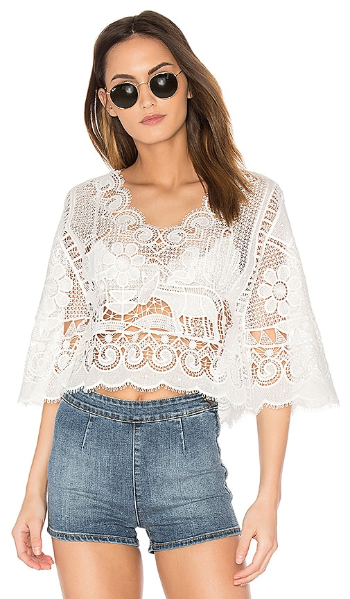 FARM Crochet Blouse in White