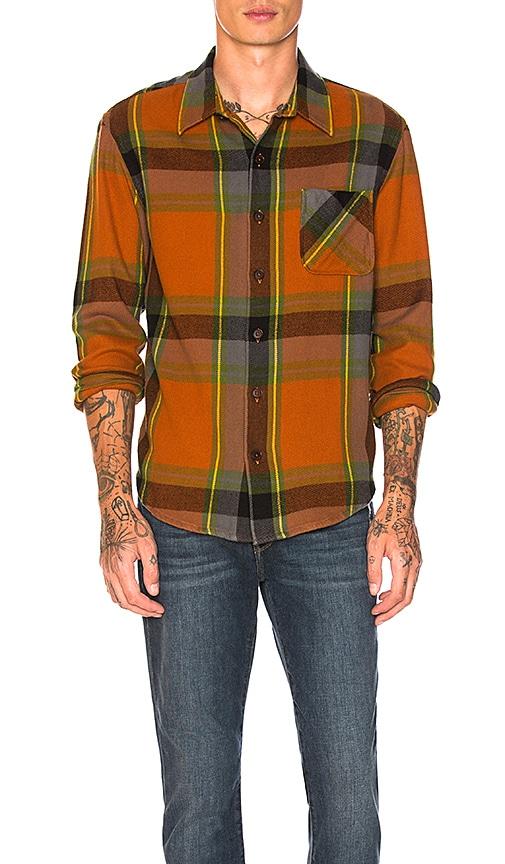 FRAME Denim Oversized Check Shirt Jacket in Orange