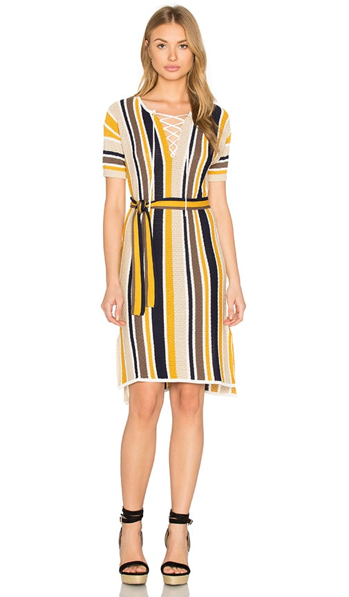 FRAME Denim Le Lace Up Shirt Dress in Yellow