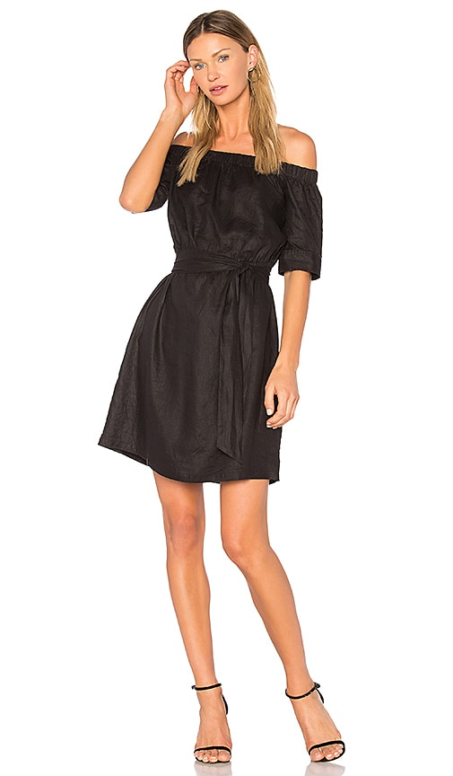 FRAME Denim Off the Shoulder Dress in Black