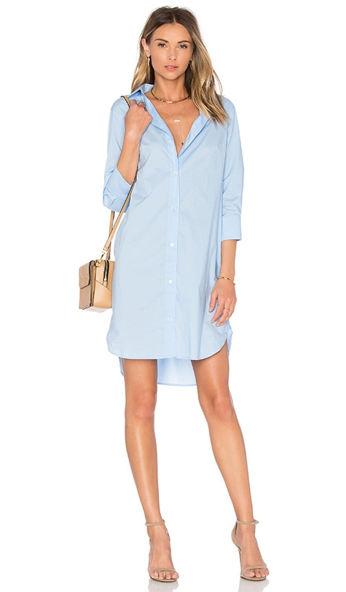 FRAME Denim Le Poplin Shirt Dress in Blue