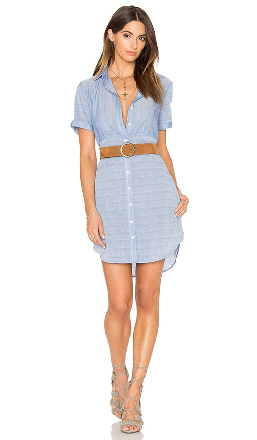 FRAME Denim Le Short Sleeve Shirt Dress in Blue
