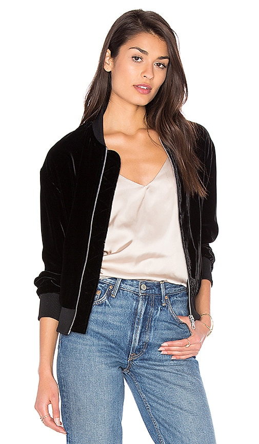 FRAME Denim Le Velvet Bomber Jacket in Black