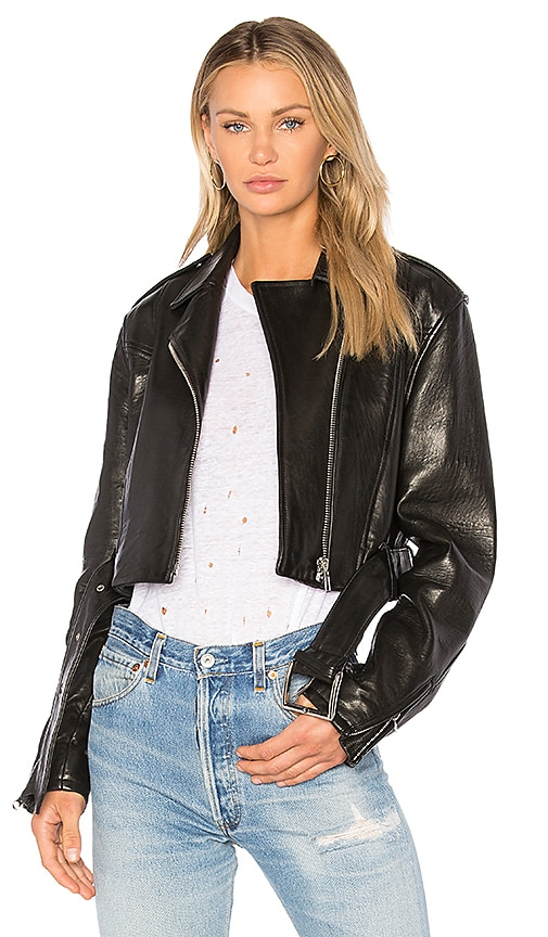 FRAME Denim Crop Moto Jacket in Black