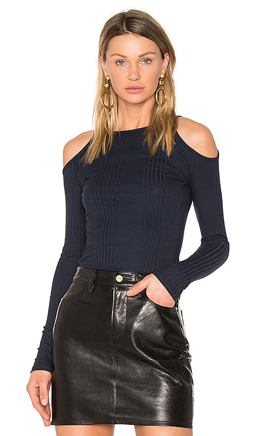 FRAME Denim Cold Shoulder Top in Blue