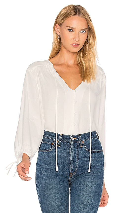 FRAME Denim Lace Up Shirt in White