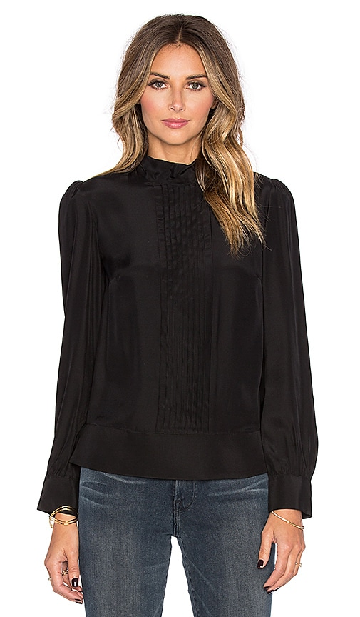 FRAME Denim Le Back Tie Pleated Blouse in Noir