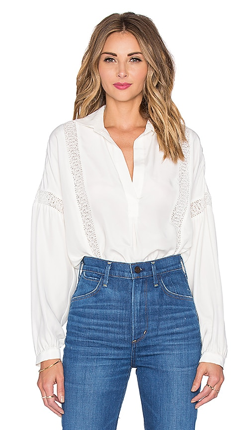 FRAME Denim Le Lace Trim Blouse in Off White