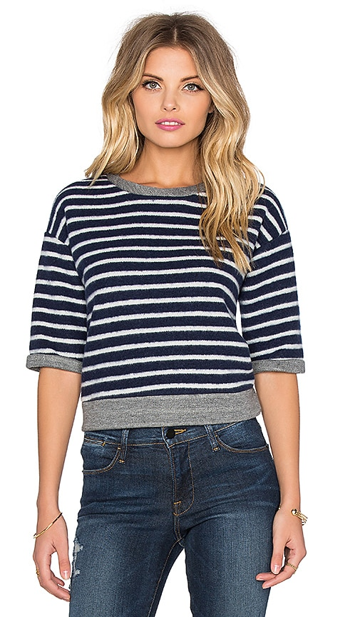 FRAME Denim Le Crop Slouchy Tee in Navy & Off White Stripe