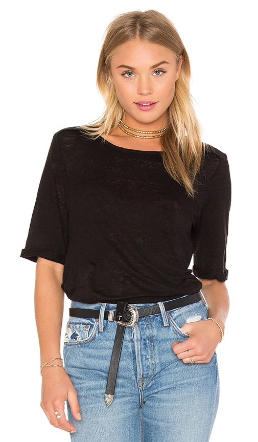 FRAME Denim Le Boxy EPaulette Tee in Black