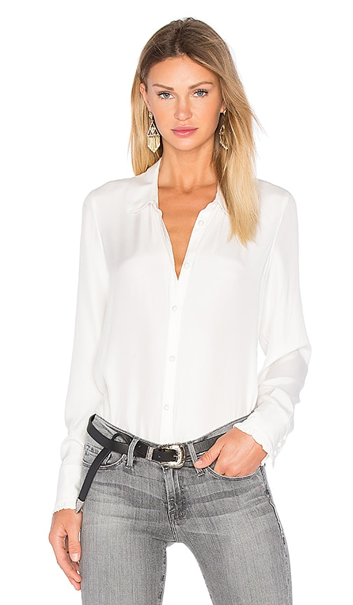 FRAME Denim Le Ruffle Blouse in White
